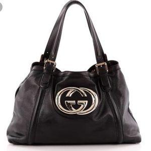 Authentic Gucci britt blk leather bag-code(162094)